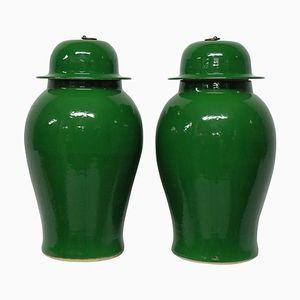 Große smaragdgrün glasierte Vasen, 1950er, 2er Set