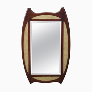 Art Deco Mahogany Wood Wall Mirror, 1920s