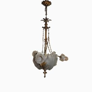 19th Century Bronze & Frosted Glass Chandelier