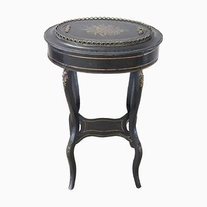 Antique Bronze and Inlaid Wood Side Table with Planter Compartment, 1880s