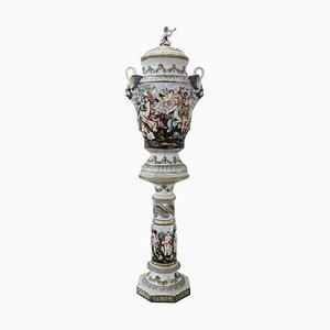 Vaso in ceramica dipinta a mano di Capodimonte, anni '40