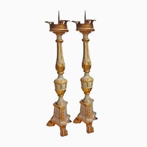 Portacandele antichi in legno, set di 2