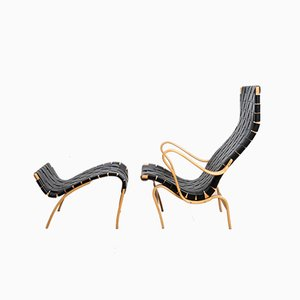 Pernilla 2 Lounge Chair & Pernilla 69 Ottoman Set by Bruno Matthson, 1940s