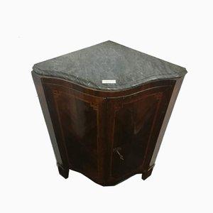 Mueble esquinero antiguo de madera y mármol