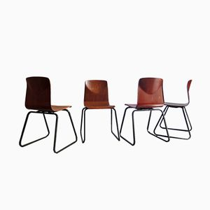 Industrial Plywood Chairs, 1960s, Set of 4