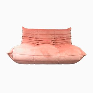 Togo Pink Velvet Loveseat by Michel Dicaroy for Ligne Roset, 1970s
