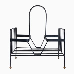 Vintage Leather and Steel Newspaper Rack by Jacques Adnet
