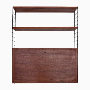 String Shelving System with Teak Bar Cabinet by Nisse Strinning for String, 1960s