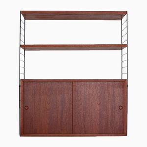 String Shelving System with Teak Cabinet by Nisse Strinning for String, 1960s