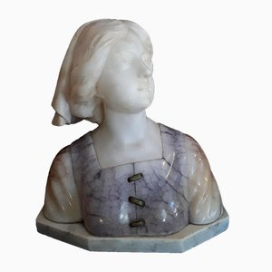 Antique Alabaster, Soapstone and Bronze Bust of Maiden on White Marble Base by Gustave van Vaerenbergh