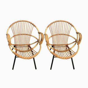 Mid-Century Rattan Armchairs, 1960s, Set of 2