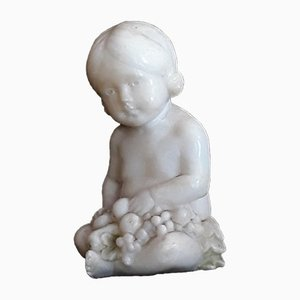Small Antique Alabaster Figure of Child from Hofkunstanstalt Kochendörfer