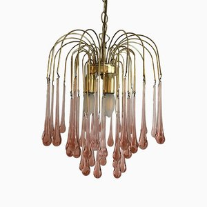 Vintage Pink Murano Glass Tear Drops Chandelier, 1970s