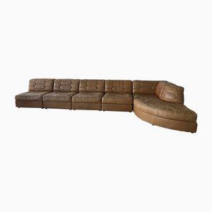Sofá modular de cuero marrón, años 70