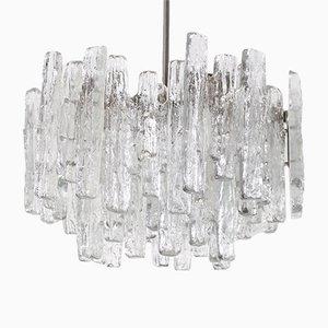 Lámpara de araña brutalista de cristal moldeado de Kalmar Franken KG, años 70