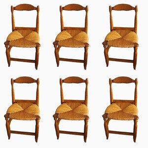 Esszimmerstühle aus massiver Eiche von Guillerme et Chambron, 1970er, 6er Set