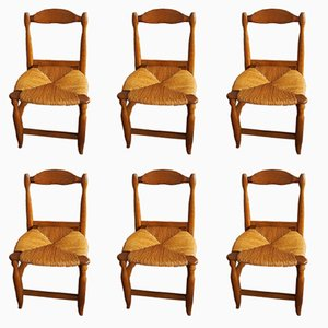 Solid Oak Dining Chairs by Guillerme et Chambron, 1970s, Set of 6