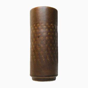Jarrón danés vintage cilíndrico de cerámica con círculos de Johgus, años 70