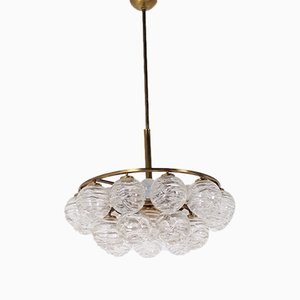 Crystal & Brass 6-Light Chandelier from Doria Leuchten, 1970s