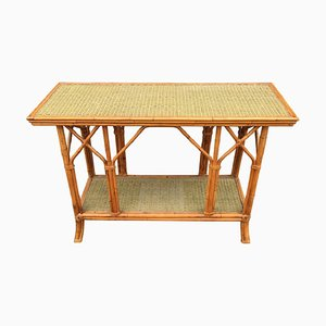 Bamboo and Rattan Console Table, 1970s
