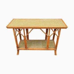 Table Console en Bambou et Rotin, 1970s