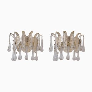 Crystal & Silver-Plated Sconces by Ernst Palme for Palwa, 1960s, Set of 2