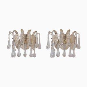 Versilberte Wandleuchten aus Kristallglas von Ernst Palme für Palwa, 1960er, 2er Set