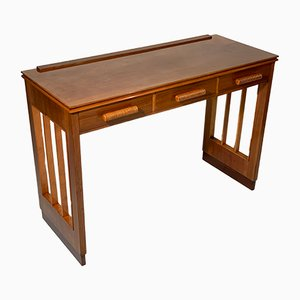 Italian Art Deco Walnut Console Desk with Three Drawers