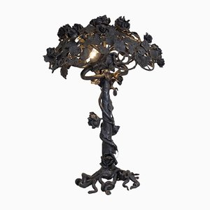 Vintage Blackened Metal Rose Lamp, 1950s
