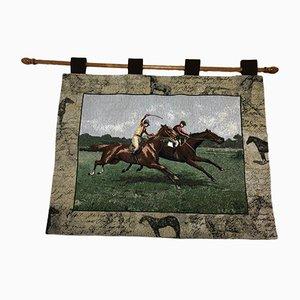 Vintage Wandteppich mit schottischem Pferderennen von OMGC