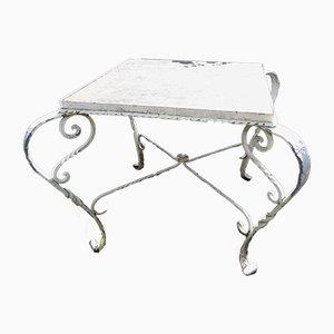 Mesa de jardín Mid-Century de hierro forjado con superficie de mármol
