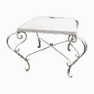 Mid-Century Wrought Iron & Marble Top Garden Table