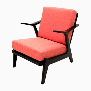 Mid-Century Black and Coral Pink Armchairs, Set of 2