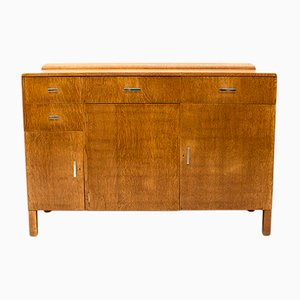Art Deco Oak & Chrome Sideboard, 1930s