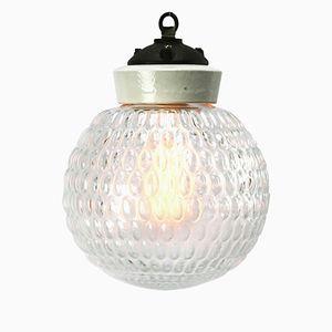 Lampe à Suspension Vintage en Porcelaine et Fonte