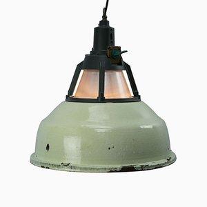 Suspension Industrielle Vintage en Émail Vert et Aluminium de Holophane