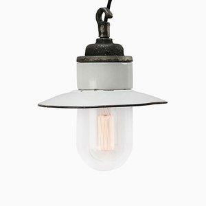 Lampe à Suspension Industrielle Vintage en Fonte, Porcelaine et Émail Blanc