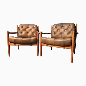 Vintage Leather & Beech Lounge Chairs by Ingemar Thillmark for OPE, 1960s, Set of 2