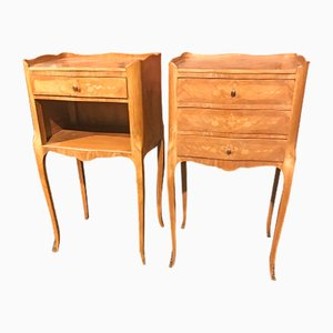 Mid-Century Inlaid Bedside Tables, Set of 2