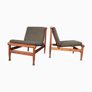 Paar Modell 501 Sessel mit Gestell aus Teak von Kai Lyngfeldt Larsen für Søborg Furniture