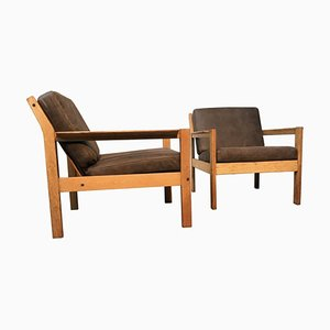 Pair of Vintage Oak Easy Chairs in Brown Leather by Erik Wørts for FDB of Denmark