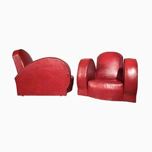 Red Leatherette Lounge Chairs, 1950s, Set of 2
