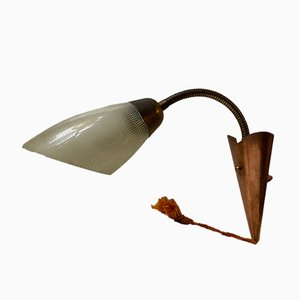 Scandinavian Modern Brass, Copper & Glass Wall Light, 1950s