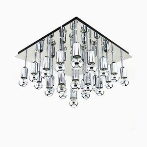 Lampada da soffitto cromata a 25 luci, anni '70