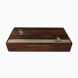 Danish Rio Rosewood Box with Sterling Fischer Boat Intarsia by Muus Petersen for Frantz Hingelberg, 1964