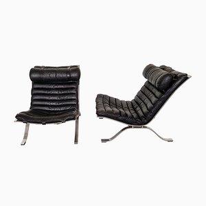 Poltronas modelo Ari vintage de cuero negro de Arne Norell. Juego de 2