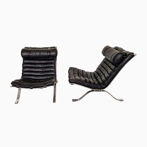 Vintage Model Ari Black Leather Easy Chairs by Arne Norell, Set of 2