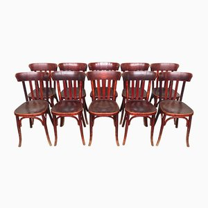 Vintage Bistro Chairs from Fischel, 1920s, Set of 10