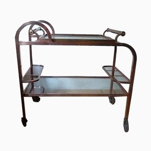Art Deco French Copper & Brass Bar Cart