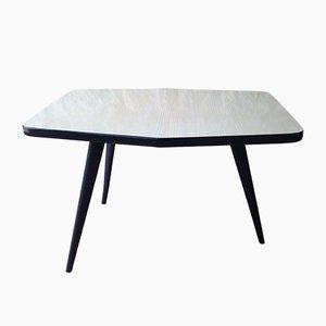 Tavolino Mid-Century tripode in formica bianca e nera